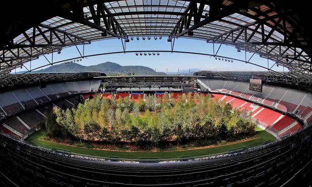 """""""For Forest"""", 299 Bäume im Stadion Wörthersee: Ein Symbolbild für gleich mehrere Paradoxien in aktivistischer Kunst- und Klimapolitik."""