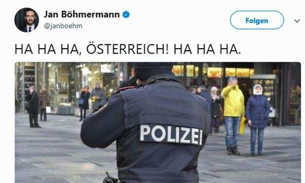 """Der prominente deutsche Satiriker Jan Böhmermann twitterte vergnügt: """"HA HA HA, ÖSTERREICH! HA HA HA."""""""