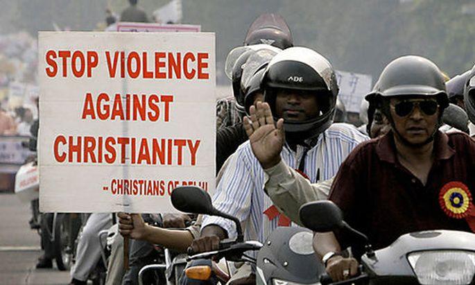 Eine Demo in Indien gegen Christenverfolgung