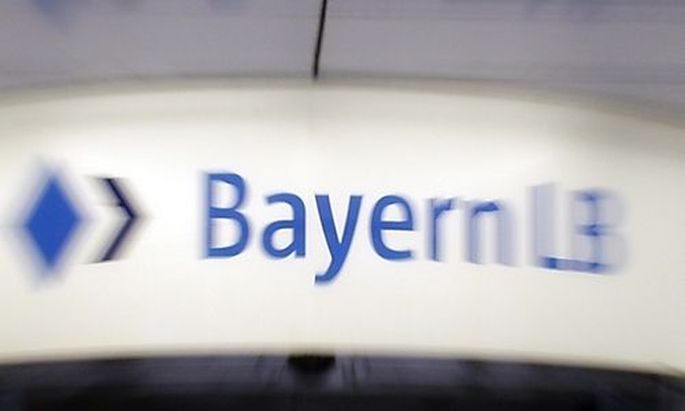 The logo of the Bavarian public sector bank BayernLB is pictured in Munich