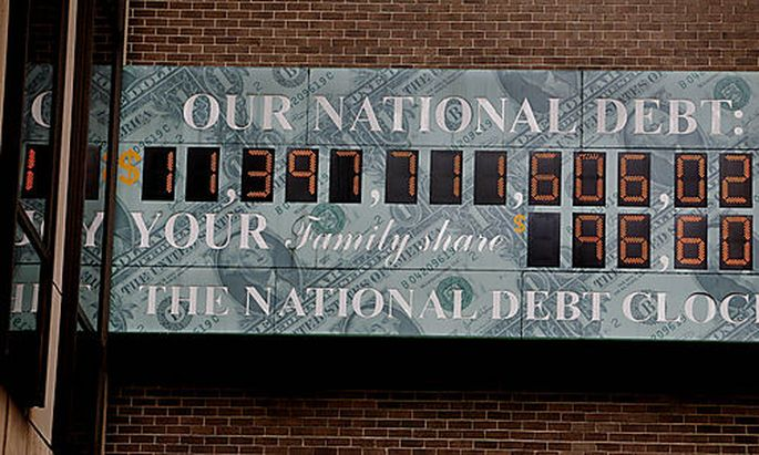 The soaring national debt is recorded on the National Debt Clock in New York, Friday, July 3, 2009. A