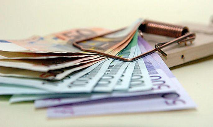 Geld, Euro, Mausefalle, Schulden, Finanz, Bank, Kredit, Diebstahl, Verbrechen Foto: Clemens Fabry