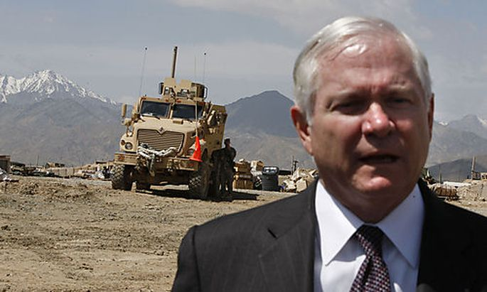 U.S. Secretary of Defense Robert Gates speaks to media at FOB Airborne in Afghanistan