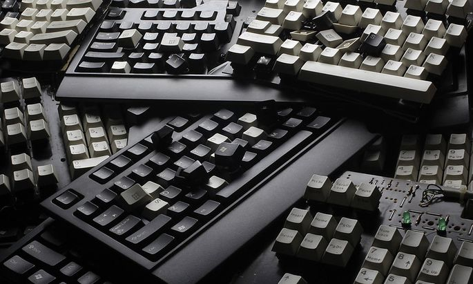 Broken computer keyboards are seen in this illustration picture taken in Warsaw