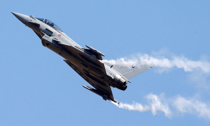 FILE PHOTO: A Eurofighter Typhoon plane flies during the international air show in Belgrade