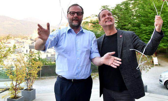 Sepp Schellhorn mit Matthias Strolz im Salzburg-Wahlkampf