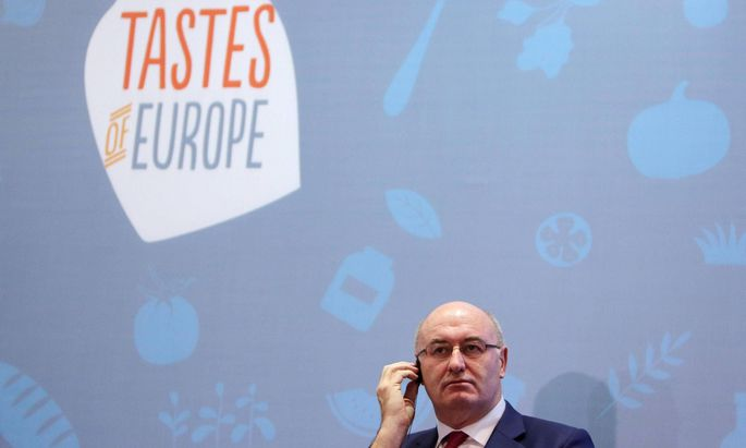 European Agriculture Commissioner Phil Hogan delivers a speech during a meeting with a European businessmen delegation