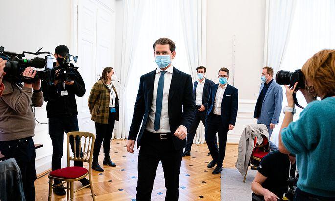 Vor der Pressekonferenz zur Ankündigung einer Pressekonferenz: Sebastian Kurz am Donnerstag.