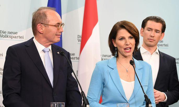 Othmar Karas, Karoline Edtstadler und Sebastian Kurz.