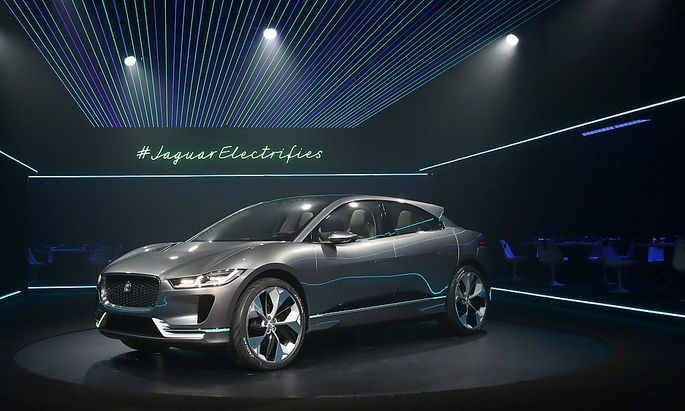 The electric Jaguar I-PACE concept SUV is unveiled before the Los Angeles Auto Show
