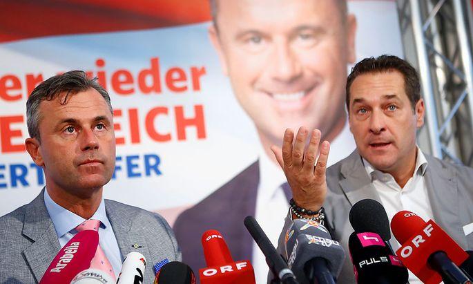 FPÖ-Kandidat Norbert Hofer und FPÖ-Chef Heinz-Christian Strache