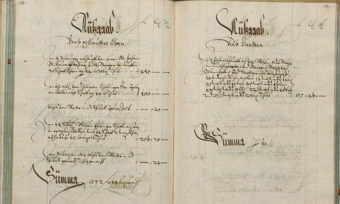 Dieses Rechnungsbuch von 1649 zeigt die Einträge zum Einkauf von Korn im Salzburger Bürgerspital.