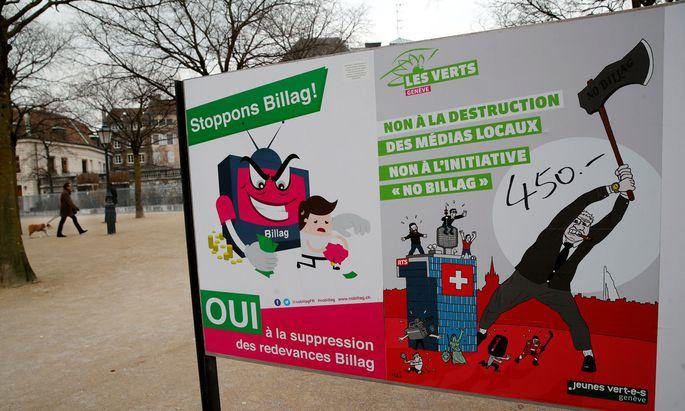 """Auch Linke wie die Schweizer Grünen wollen öffentlich-rechtliche Medien beibehalten, da sie """"nationale Identität"""" stifteten."""