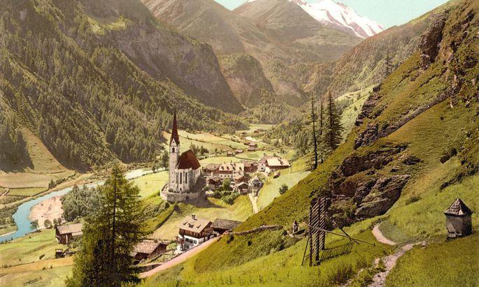 Das Gefühlsnetz der Österreicher rund um die schöne Landschaft: Heiligenblut am Fuß des Großglockners, aufgenommen um 1900.