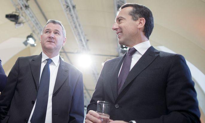 Bundesgeschäftsführer Georg Niedermühlbichler und Bundeskanzler Christian Kern
