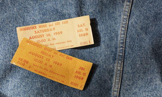 """""""Three days of peace and music"""", so wurde das Festival beworben. Woodstock-Eintrittskarten."""