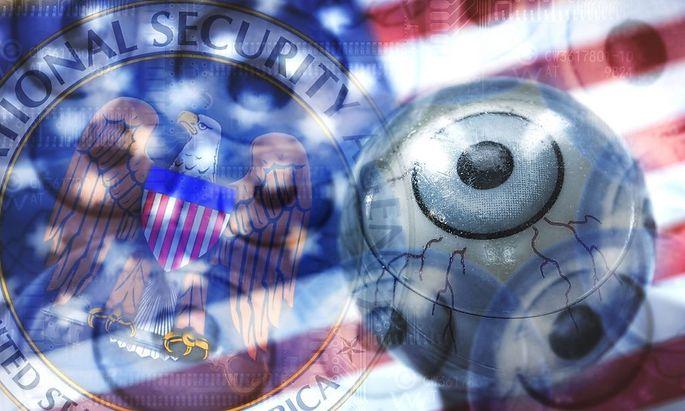 Auge auf USA Fahne mit NSA Symbol US Spionageprogramme