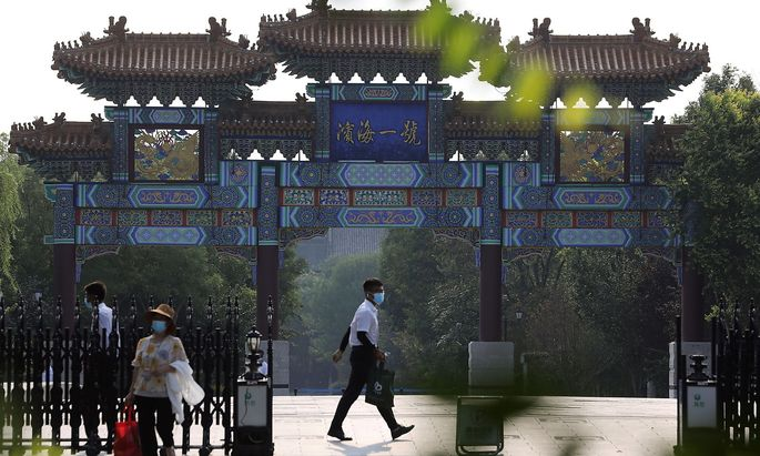 Der Eingang zum Hotelgelände in Peking, wo US-Vize-Außenministerin Wendy Sherman auf ihre chinesischen Gesprächspartner trifft.