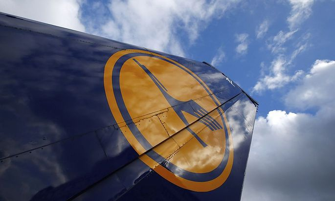 The tail of a decommissioned Lufthansa aircraft is pictured at Frankfurt airport