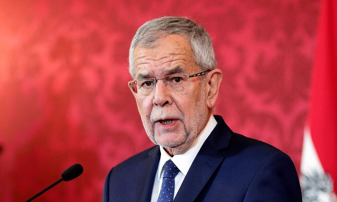 Austrian President Alexander Van der Bellen delivers a speech to the nation in Vienna