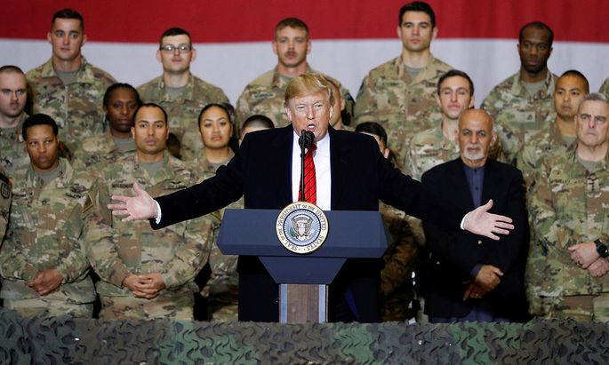 U.S. President Donald Trump makes an unannounced visit to U.S. troops at Bagram Air Base in Afghanistan
