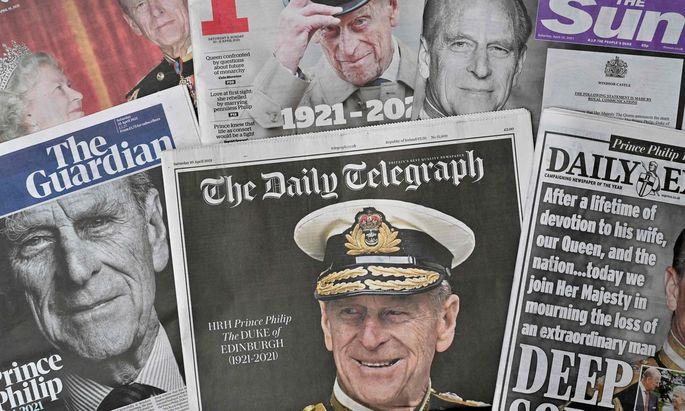 Der Tod von Prinz Philip (1921–2021) beherrschte am Wochenende die britischen Medien.