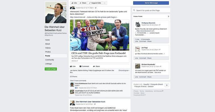 """Screenshot der Facebookseite """"Die Wahrheit über Sebastian Kurz"""""""