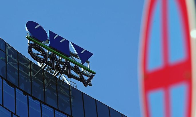The logo of Austrian oil and gas company OMV is pictured at its headquarters on the day of a board meeting in Vienna