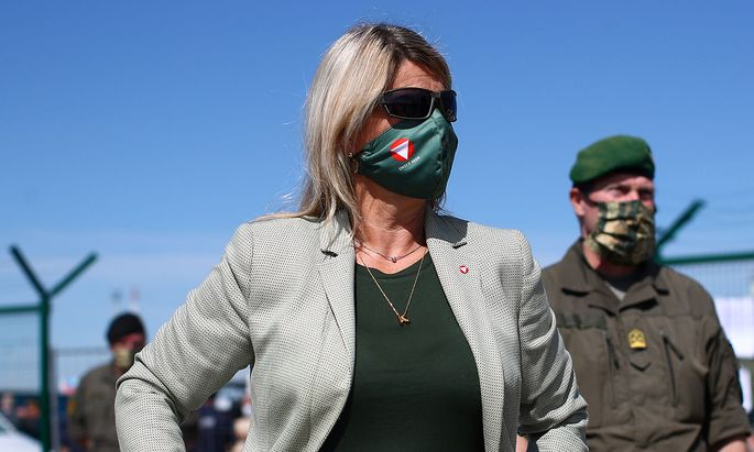 Austrian Defense Minister Klaudia Tanner is seen ahead of an exercise to prevent migrants from crossing the Austrian border from Hungary in Nickelsdorf