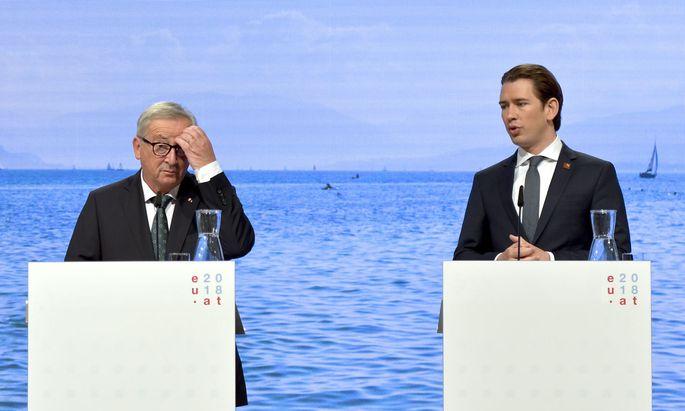 Kommissionspräsident Jean-Claude Juncker setzt Erwartungen in die österreichische EU-Präsidentschaft und in Bundeskanzler Sebastian Kurz.
