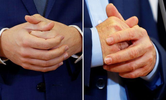 Die Hände der Chefverhandler: Links Sebastian Kurz, rechts Werner Kogler.