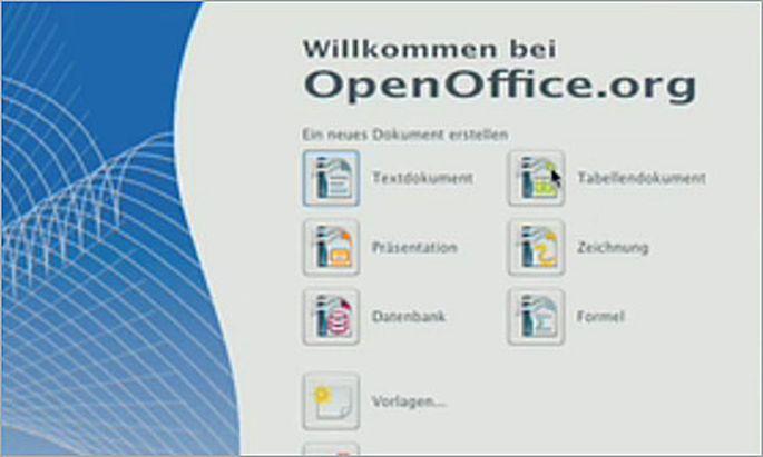 Startcenter von OpenOffice 3.0