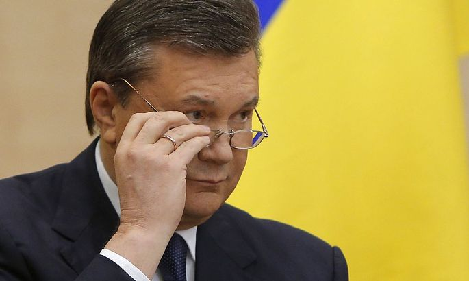 Ousted Ukrainian President Viktor Yanukovich takes part in a news conference in the south Russian city of Rostov-on-Don