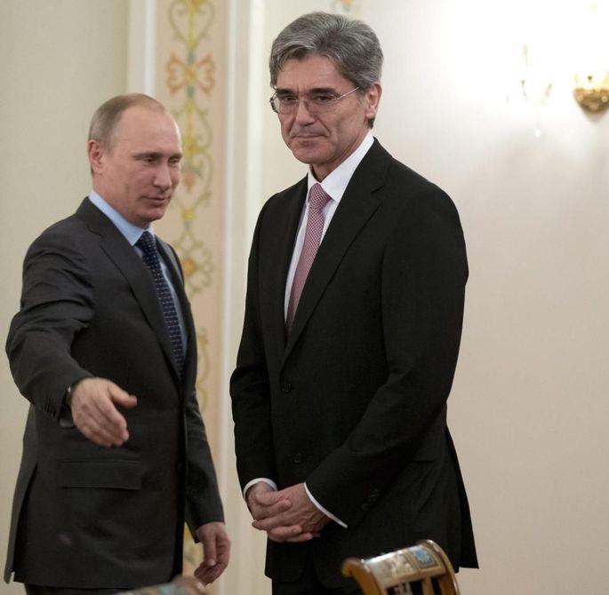"""Die """"vertrauensvolle Beziehung"""" ist passé: Putin und Siemens-Chef Joe Kaeser."""
