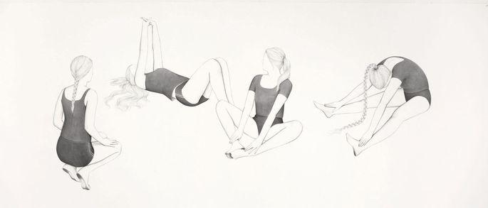 Ulrike Lienbacher ist eine von nur 15 Künstlerinnen und Künstlern dieser Schau: Hier ihre Tusche-Zeichnung entindividualisierter Sportlerinnen von 2007.