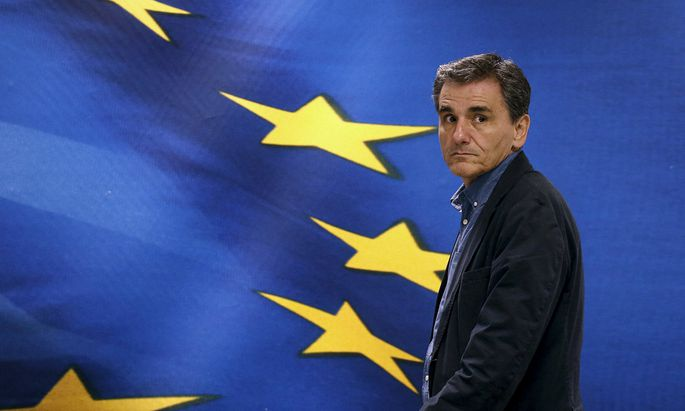 Newly-appointed Finance Minister Euclid Tsakalotos in Athens before handover ceremony