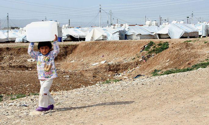 Ein Flüchtlingscamp für syrische Bürgerkriegsflüchtlinge nahe der Stadt Arbat im Nordirak.