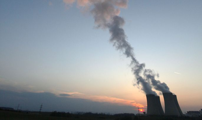 Steam billows from the cooling towers of the Temelin nuclear power plant near the South Bohemian city of Tyn nad Vltavou