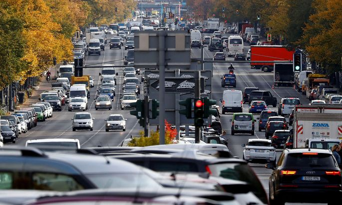 FILE PHOTO: Cars are seen at Kaiserdamm street in Berlin