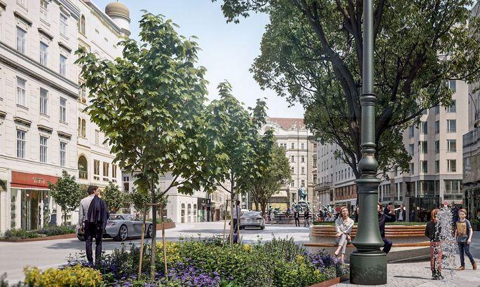 Große Platanen sollen einen der zentralsten Plätze Wiens begrünen und abkühlen.