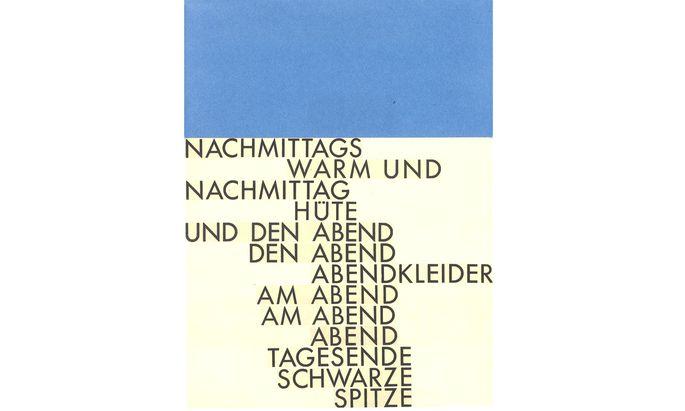 """Gerhard Rühm: """"Nachmittags"""", 1958, Buntpapier und Typocollage auf Karton."""