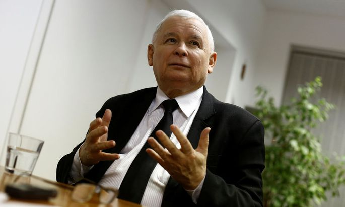 Leader of Law and Justice party Kaczynski speaks during an interview with Reuters in party headquarters in Warsaw