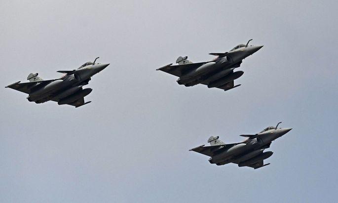 Die in Frankreich gefertigten Rafale Jets für Griechenland (Im Bild: Baugleiche indische Jets)