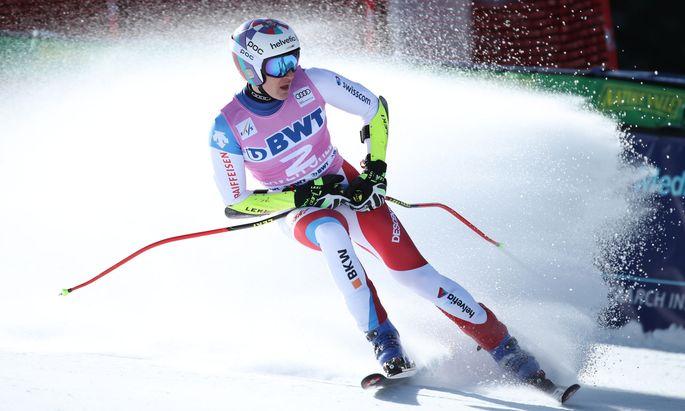 Schweizer Marco Odermatt gewann eine Zehntelsekunde vor dem Norweger Aleksander Aamodt Kilde