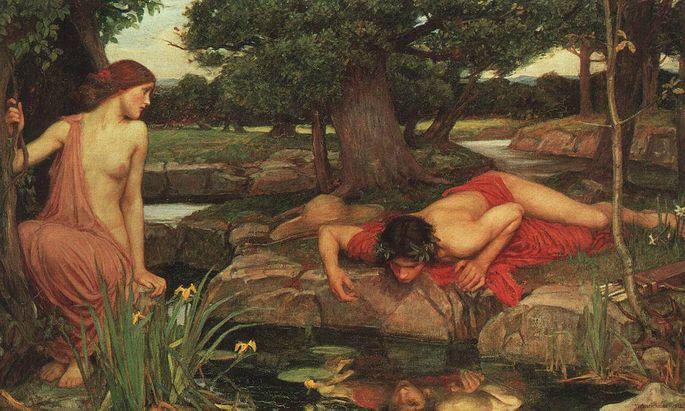 Narziss an der Wasserquelle, wo er sich im Mythos in sein eigenes Spiegelbild verliebt. Festgehalten vom britischen Maler John William Waterhouse.