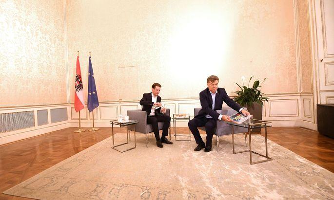 ÖVP-Obmann Sebastian Kurz (l.) und Grünen-Chef Werner Kogler verbrachten in den vergangenen Wochen viel Zeit miteinander, meist – wie hier – im Winterpalais des Prinzen Eugen im Finanzministerium.