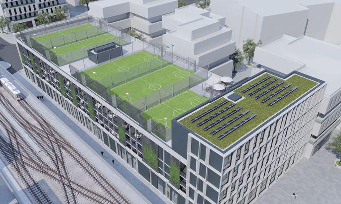"""""""Seehub"""" in Wien Aspern: Neben Wohnungen und Büros werden auf dem Dach fünf Fußballfelder untergebracht."""