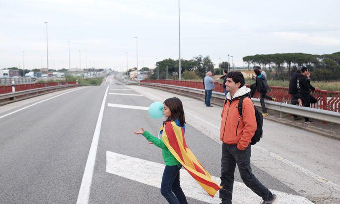 Generalstreik in Katalonien, auch der Verkehr steht still.