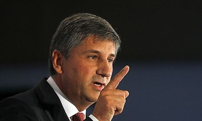 Austrian Peoples Party and Austrian Vice Chancellor Spindelegger delivers a speech during a party mee