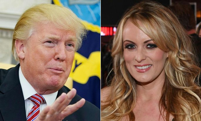 "Trump (links), ""Stormy Daniels"" (rechts)"